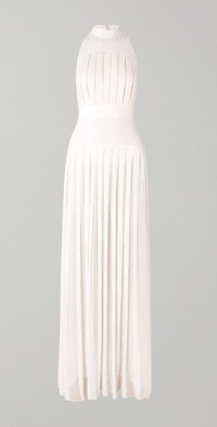 Pleated sequined chiffon gown