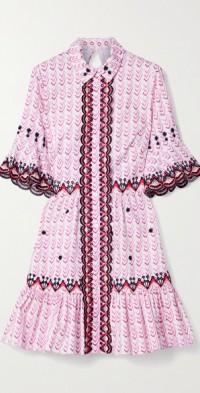 Poet embroidered printed cotton-poplin mini dress