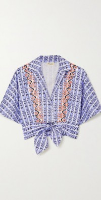 Poet tie-front embroidered printed cotton-poplin shirt