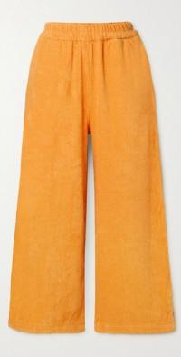 Capri cotton-terry straight-leg pants