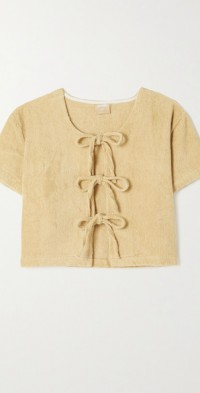 Tie-front cotton-terry top
