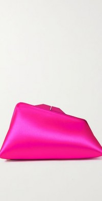 Large leather-trimmed satin clutch