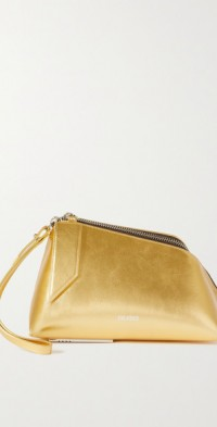 Saturday metallic textured-leather clutch