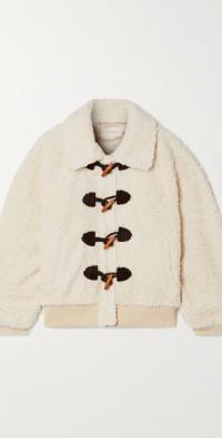 Faux suede-trimmed bouclé jacket