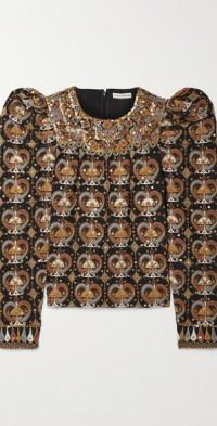 Alisha embellished linen and cotton-blend blouse