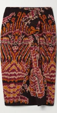 Ember draped printed cotton midi skirt