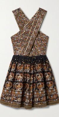 Priya embellished linen and cotton-blend mini dress
