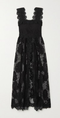 + NET SUSTAIN Almare recycled guipure lace and cotton midi dress