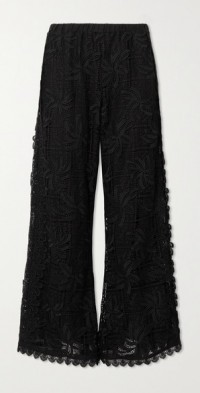 + NET SUSTAIN Coquillage guipure lace and cotton wide-leg pants