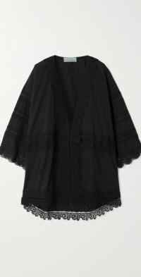 + NET SUSTAIN El Rincon guipure lace and organic cotton robe
