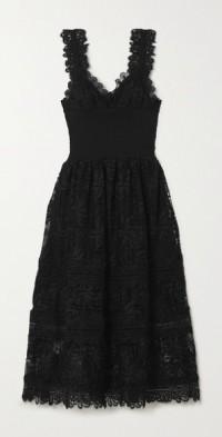 + NET SUSTAIN La Mimosa shirred guipure lace midi dress