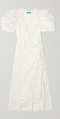 + NET SUSTAIN Sienna recycled guipure lace and cotton wrap midi dress