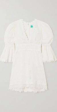 + NET SUSTAIN Solara guipure lace and cotton mini dress