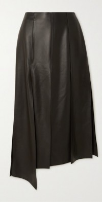 Asymmetric leather skirt