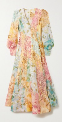 Tempo embellished floral-print linen and silk-blend gown