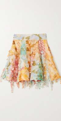 Tempo embellished floral-print linen and silk-blend mini skirt