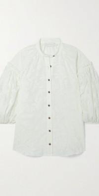 Tropicana Lantern organza-jacquard blouse