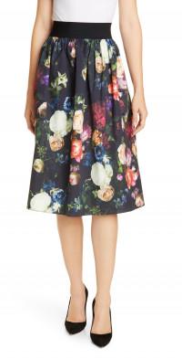 Adam Lippes Elastic Waist Floral Print Poplin Skirt