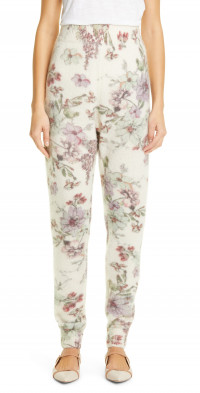 Women's Adam Lippes Floral Print Cashmere & Silk Sweatpants