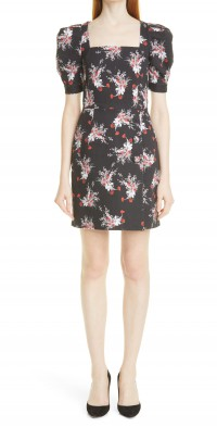Women's Adam Lippes Floral Print Puff Sleeve Stretch Cotton Dress