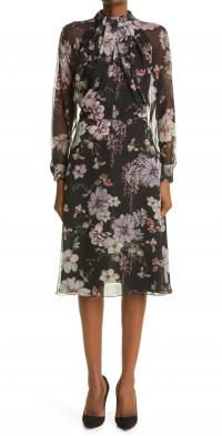 Women's Adam Lippes Floral Print Twist Neck Long Sleeve Chiffon Dress