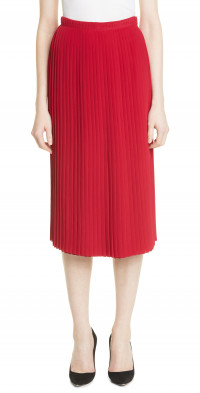 Women's Adam Lippes Pleated Crepe De Chine Skirt