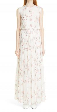 Women's Adam Lippes Poppy Print Pleated Chiffon Maxi Dress