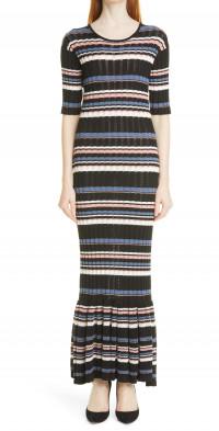 Women's Adam Lippes Stripe Rib Cotton Blend Mermaid Dress
