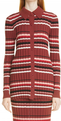 Women's Adam Lippes Stripe Rib Cotton Blend Shirt