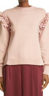 Women's Adeam Ruffle Mixed Media Sweater