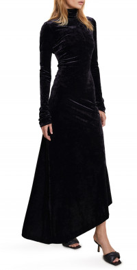 A.L.C. Brielle Stretch Velvet Open Back Long Sleeve Dress