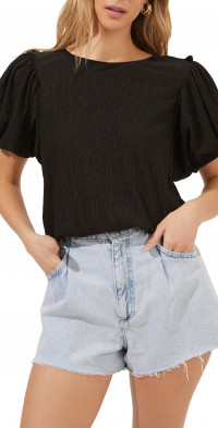 ASTR the Label Bubble Sleeve Crop Top
