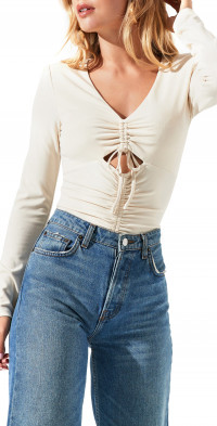 ASTR the Label Cinched Cutout V-Neck Bodysuit