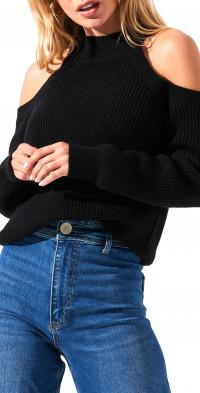 ASTR the Label Cold Shoulder Mock Neck Sweater