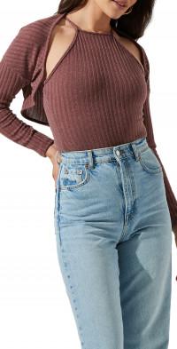 ASTR the Label Crop Shrug & Halter Cami Bodysuit Set