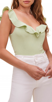 ASTR the Label Lala Ruffle Neck Bodysuit
