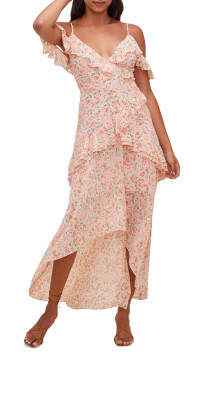 ASTR the Label Pemberly Floral Ruffle Off the Shoulder High-Low Dress
