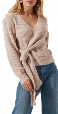 ASTR the Label Ribbed Wrap Front Sweater