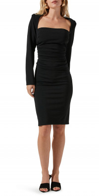 ASTR the Label Ruched Long Sleeve Sheath Dress