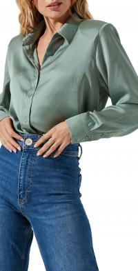 ASTR the Label Satin Button-Up Shirt