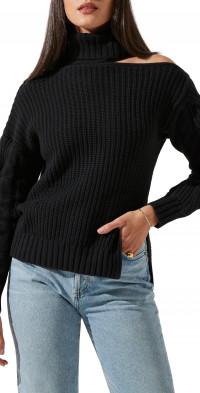 ASTR the Label Sequoia Cutout Turtleneck Cotton Blend Sweater
