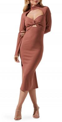 ASTR the Label Twist Cutout Midi Sweater Dress