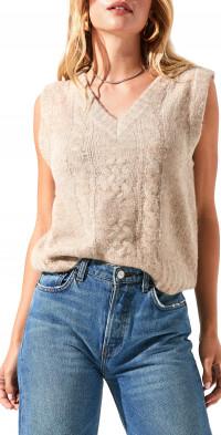 ASTR the Label V-Neck Cable Knit Sweater Vest
