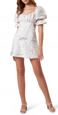 Charlie Holiday Lottie Palm Print Short Sleeve Linen & Cotton Dress