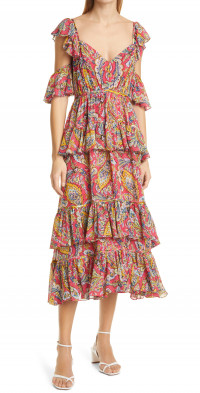 Cinq a Sept Collier Floral Print Cutout Sleeve Midi Dress