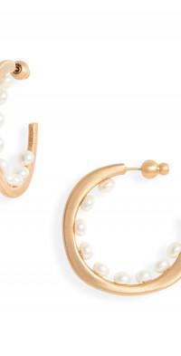 Cult Gaia Goldie Freshwater Pearl Hoop Earrings at Nordstrom