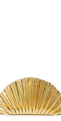 Cult Gaia Mini Nala Metallic Leather Fan Clutch in Gold at Nordstrom