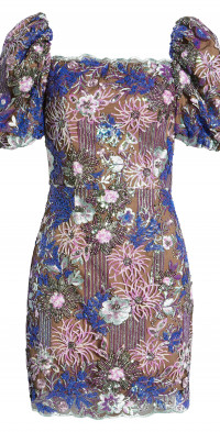 Elliatt Tasha Floral Sequin Puff Sleeve Cocktail Minidress