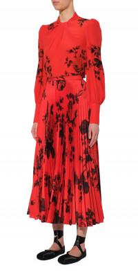 Erdem Nesrine Floral Print Pleated Skirt
