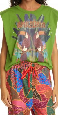 FARM Rio Amazonia Cotton Graphic Muscle Tee